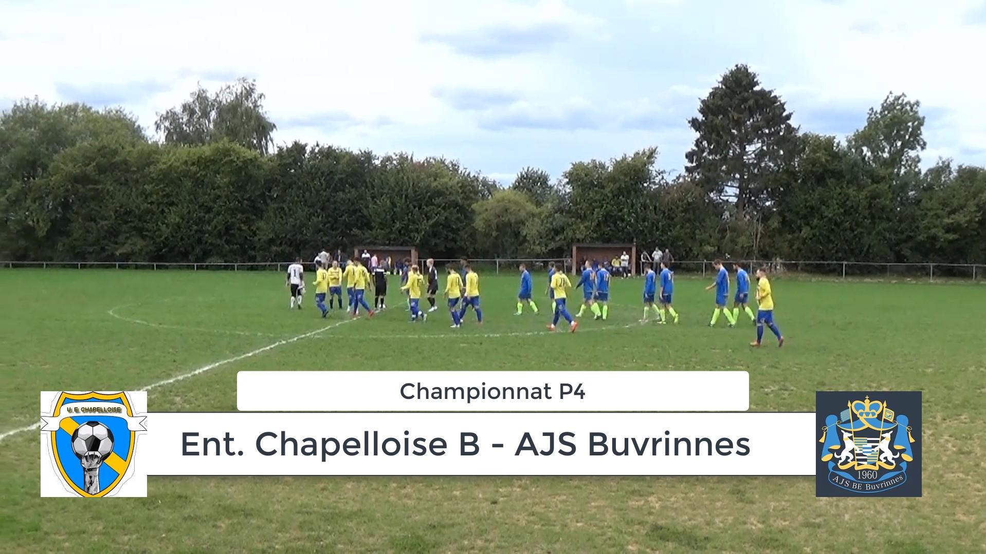 P4 : Ent. Chapelloise B – AJS Buvrinnes 1-3 (1-0) match arrêté – résumé en vidéo