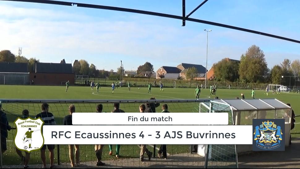 P4 : RFC Ecaussinnes – AJS Buvrinnes 4-3 (2-2) : résumé du match en vidéo